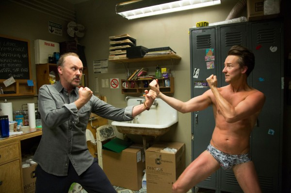 Riggan Thomson (Michael Keaton) and Mike Shiner (Edward Norton) go toe to toe.