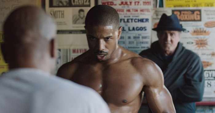 Adonis Johnson (Michael B. Jordan) trains under the watchful eye of Rocky Balboa (Sylvester Stallone).