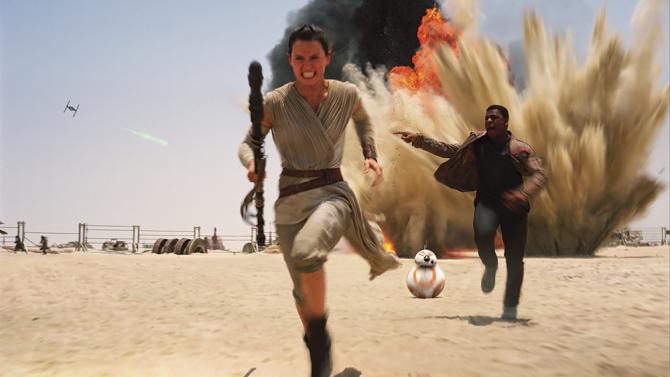 Rey (Daisy Ridley), Finn (John Boyega) and BB-8.